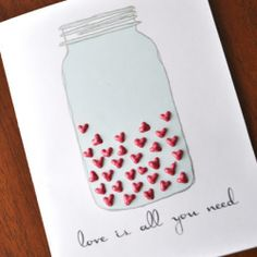 Freehand this cute jar and fill it with painted hearts. So cute and easy for your Valentine.