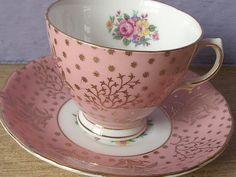 antique pink tea cup and saucer set vintage by ShoponSherman,