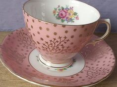 antique pink tea cup and saucer set