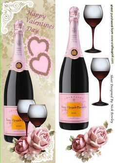Love with champagne glasses and roses Tall DL on Craftsuprint - Add To Basket! Red Wine Image, Girl Birthday, Birthday Cards, Its A Girl Balloons, 3d Cards, Quick Cards, Free Paper, Anniversary Cards, Cardmaking