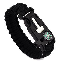 LEERYA 5in1 Outdoor rope Paracord Survival gear escape Bracelet Flint/Whistle/Compass >>> Don't get left behind, see this great product : Safety and Survival
