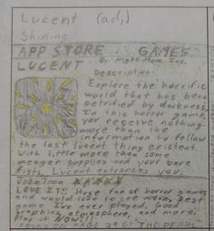 """As his required """"meaningful writing activity,"""" seventh grader Timothy created this fake """"Computer App"""" based on one of his vocabulary words of the week: lucent.    This was an activity actually designed by my 8th graders. Enjoy examples of all the vocabulary activities my 8th graders created here: http://corbettharrison.com/Vocabulary.htm#studentmade"""