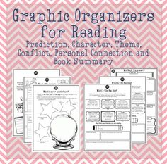 Perfect for novel study, these graphic organisers allow learners to make notes on the important elements of the story. The graphic organisers include: - Prediction - Character - Personal connection - Conflict - Theme - Book Summary Graphic Organizer For Reading, Graphic Organisers, Book Summaries, Summary, Teacher Resources, Connection, Novels, Study, Books