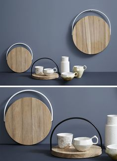These circular wood trays feature movable handles that allow them to be hung up easily and transported from one place to another effortlessly.