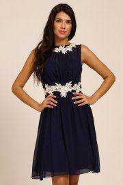 Navy & Cream Floral Lace Applique Chiffon Dress http://www.little-mistress.co.uk/