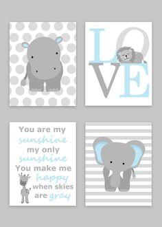 Zoo Nursery Decor, Elephant Nursery, Zoo Baby Room, Hippo Nursery, Love, You Are My Sunshine, Jungle Decor, Lion, Giraffe, Baby Boy Decor by SweetPeaNurseryArt on Etsy