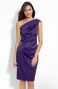 Eliza J Beaded One Shoulder Satin Dress available at #Nordstrom