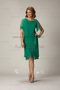 Elegant mother of the bride dress for the beach wedding Dark Green Chiffon cms-060
