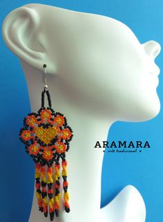 Mexique Huichol perlé Orange fleur boucles doreilles par Aramara
