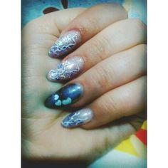 #nails #v-day #hearts #purple