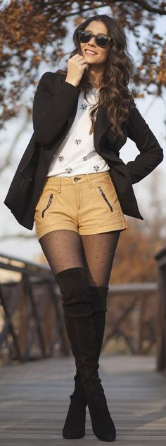 polka dot tights and over-the-knee boots. #style #inspiration