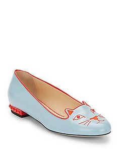 Charlotte Olympia Kitty Studded Patent Leather Flats