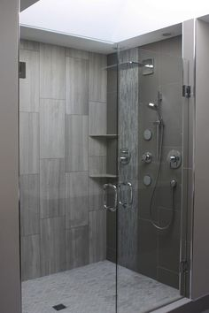 Format Rectangular Tile Set Vertically In Shower Design, Pict. Large Format Rectangular Tile Set Vertically In Shower Design, Pict. Wardrobe in the bedroom. 16 Magnificent Shower Designs That Abound With Elegance Rectangular Concealed Thermostatic M Bathroom Renos, Basement Bathroom, Bathroom Ideas, Bathroom Grey, Shower Bathroom, Shower Walls, Master Shower, Glass Shower, Bathroom Vanities
