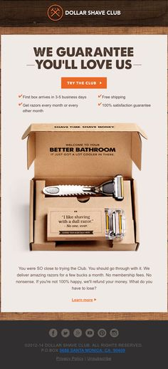 Welcome email. Dollar Shave Club. 'Where did you go?' - Really Good Emails