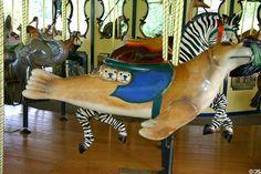 Seal merry-go-round animal on carousel at St. Louis Zoo. St Louis, MO.