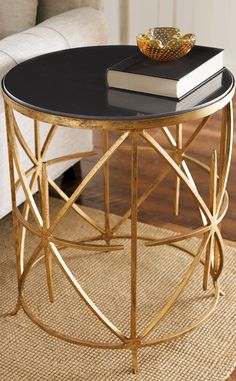 Black and Gold Coffee Table - Granite top Side Table by Horchow. Worlds Away Surf Gold Leafed Coffee Table Black Marble top. Decoration Inspiration, Decoration Design, Design Inspiration, Room Inspiration, Home Furniture, Furniture Design, Funky Furniture, Handmade Furniture, Furniture Ideas