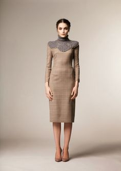 Modest long sleeve plaid midi dress from A La Russe at Mode-sty