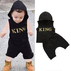 Baby Boys Clothes Set Letter King Print Hoodie For Boys Solid Black Sleeveless Sweatshirt Boys Pants Outfits Baby Boy Set Cute Newborn Baby Clothes, Baby Boy Clothes Online, Stylish Baby Clothes, Unisex Baby Clothes, Baby & Toddler Clothing, Baby Boy Vest, Baby Boy Romper, Baby Boy Outfits, Baby Boys