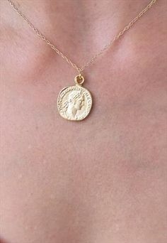 Gold long necklace gold coin necklace coin pendant necklace gold coin necklace gold pendant necklace coin jewelry aloadofball Choice Image