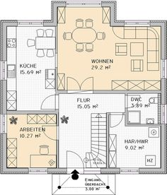 Grundriss EG - Houses and Floorplans - Best House Plans, Dream House Plans, House Floor Plans, Huge Houses, Pretty Room, Village Houses, Modern Architecture House, Cool Rooms, Cool Designs