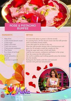 Rose and Pistachio Burfee Indian Dessert Recipes, Indian Sweets, Indian Food Recipes, Halal Recipes, Cooking Recipes, Sweet Meat Recipe, Diwali Recipes, Group Recipes, Homemade Banana Bread