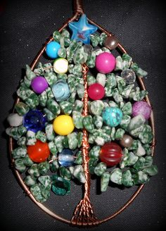 Tree agate and coloured bead Christmas tree of life