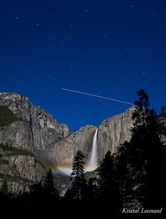 Lunar rainbow and International Space Station flyby in Yosemite National Park by Kristal Leonard, via Flickr