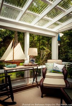 Between Naps on the Porch featured this pergola converted to a four season room using polycarbonate corrugated roofing panels from Home Depot to let maximum light through. G.E.N.I.U.S.