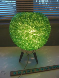 Vintage Retro Green Spaghetti Lucite Table Lamp w/Teak Tripod Base LOVE THIS!!