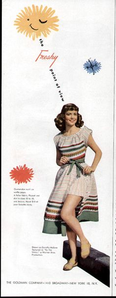 VINTAGE 1948 FASHION PLAYSUIT CLOTHING AD featuring Dorothy Malone
