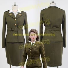 Avengers Captain America Agent Peggy Carter Uniform Olive Green Cosplay Costume #Uniform