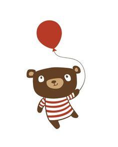 Birthday Bear - 5 x 7 Childrens Art Illustration Print - kids wall art print Art Wall Kids, Nursery Wall Art, Art For Kids, Nursery Decor, Bear Illustration, Bear Print, Illustrators, Character Design, Art Prints