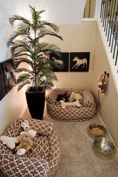 "Dog Room Under the Stairs. Too cute! Beau and all my future fur babies will have their own little ""home"" ."