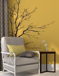 Stickerbrand Nature Vinyl Wall Art Bare Tree Branch Wall Decal Sticker - Black, x Easy to Apply & Removable. Simple Wall Paintings, Diy Wall Painting, Wall Decal Sticker, Vinyl Wall Decals, Tree Wall Decals, Wall Stickers, Indian Bedroom Decor, Family Tree Wall Sticker, Snug Room