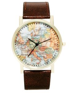 ASOS Watch With Map Print | $39 | gifts for him | mens watch | mens jewelry | mens style | mens fashion | wantering http://www.wantering.com/mens-clothing-item/asos-watch-with-map-print/acJz4/