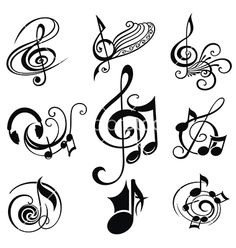 Musical Design Elements Set vector image on Music Tattoo Designs, Music Tattoos, Body Art Tattoos, Small Tattoos, Music Sign Tattoo, Music Notes Art, Music Signs, Schrift Tattoos, Music Symbols