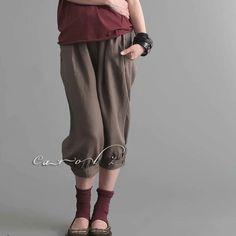 Linen Pants Croppd Pants Breeches Knicker Pants Bermuda Custom Made Available