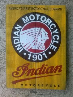 Vintage stile Rustic Indian Motorcycle 1901 Sign by Chris Montana  UpcycleMiami, $75.00