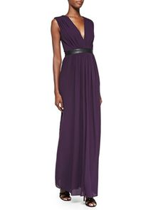 Denise Leather-Waist Jersey Maxi Dress by Alice + Olivia at Neiman Marcus.  Love the color, length, and style.