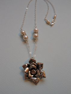Sterling Silver & Pewter Flower Necklace by TheButterflyGarden7, $34.00
