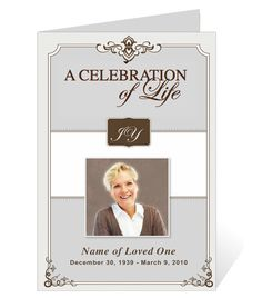 Funeral Bulletins Templates: AO Single Fold Programs : AO Celebrity Letter Single Fold Funeral Program Template Example. Download to your computer and edit.