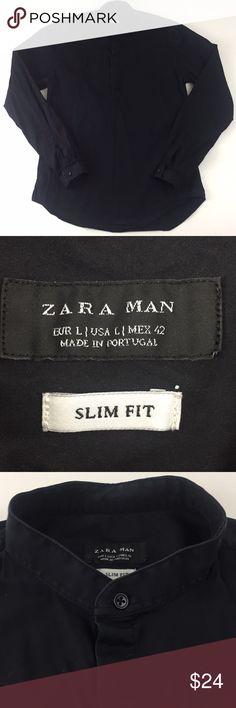 "Zara Man Long Sleeve Shirt.    H8 Zara Man Long Sleeve solid black Shirt. Men's size large slim fit. Mock neck. 78% cotton, 19% polyamide, 3% elastane. Measurements are approximate. Chest:41"", length: 29"", sleeve: 25.5"". Zara Shirts"