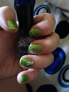 Green Confetti Nail!! Did them all myself! Love it!