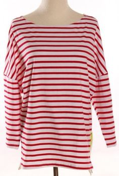 Red White Striped Side Zipper Loose T-Shirt