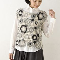 crochet flower motif vest