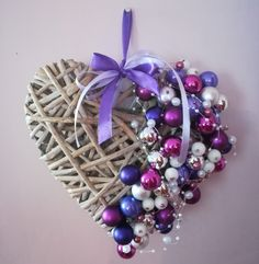 Purple Christmas heart-shaped wreath.