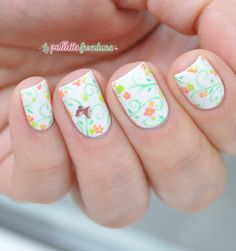 Essie private weekend nature flower grass butterfly nail art