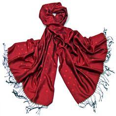étole soie noir rouge pois