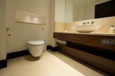 Contemporary bathroom design with bespoke YDA cabinetry.