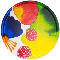 Marimekko Juhannustaika Round Plywood Tray ($229) ❤ liked on Polyvore featuring home, kitchen & dining, serveware, circular tray, round tray, marimekko tray and marimekko